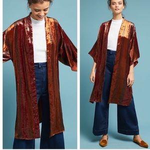 NWOT Anthropologie Velvet Orange Kimono Longline